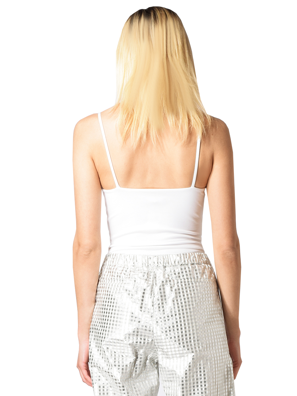 David Lerner Straight Tank Bodysuit in White