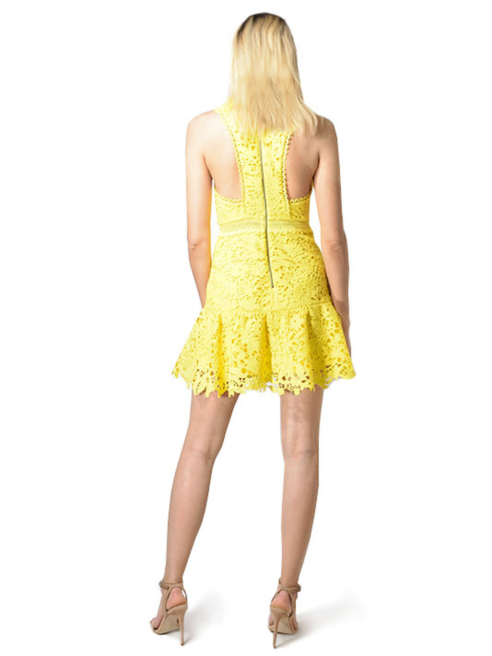 Alice & Olivia Marleen Fit & Flare Lace Mini Dress in Yellow