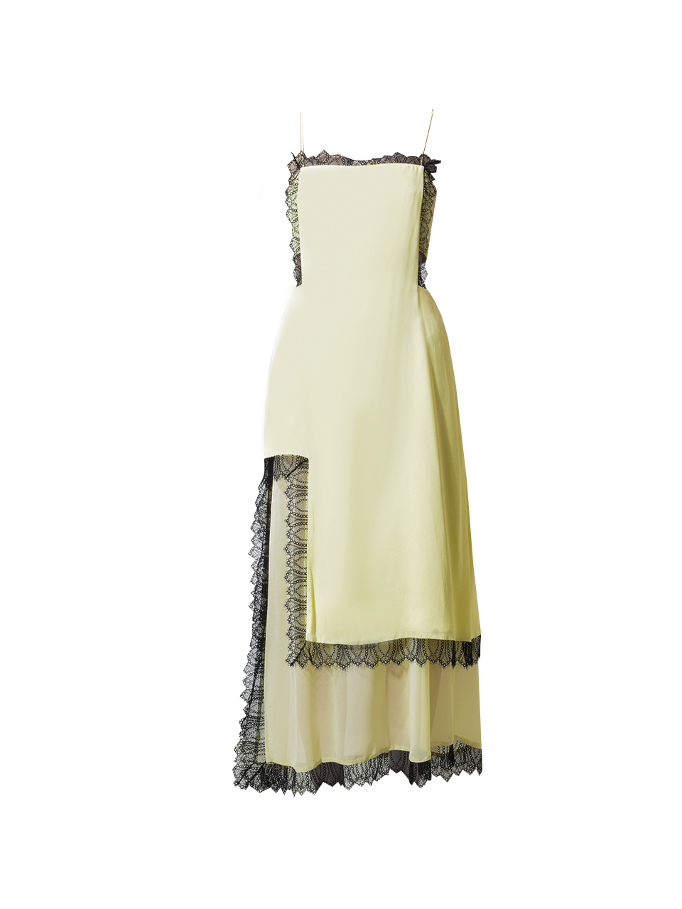 3.1 Phillip Lim Square Cutout Lace Slit Dress in Lemon