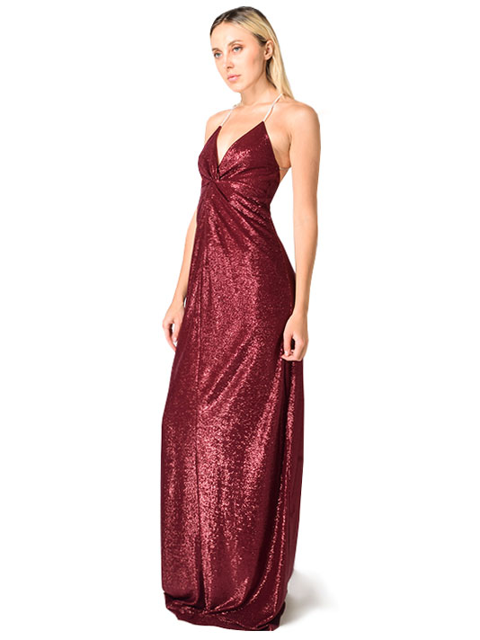 Michelle Mason Shimmer Strap Jersey Twist Gown in Wine Red