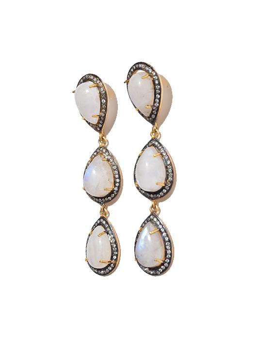 Paula Rosen Three Drop Moonstone Earring