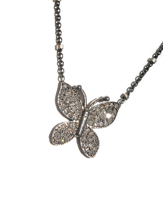 Paula Rosen Diamond Butterfly Pendant Necklace in Silver