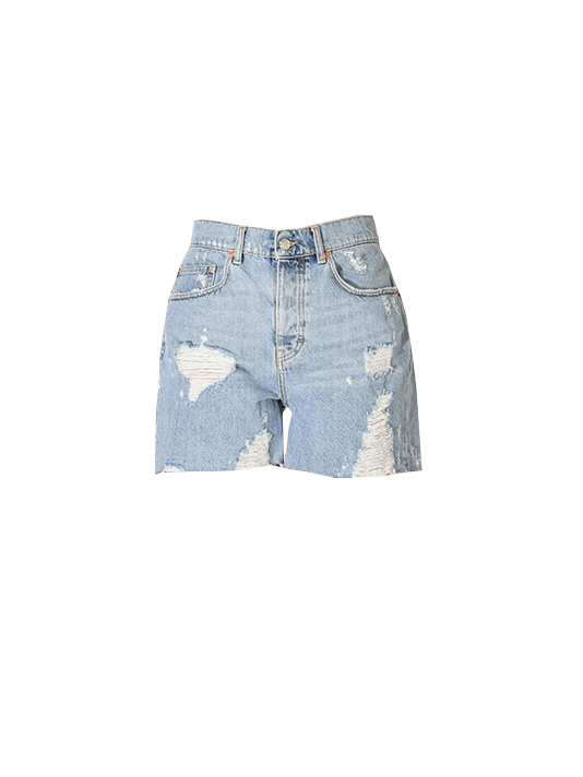 IRO High Waisted Destroyed Denim Short in Light Blue