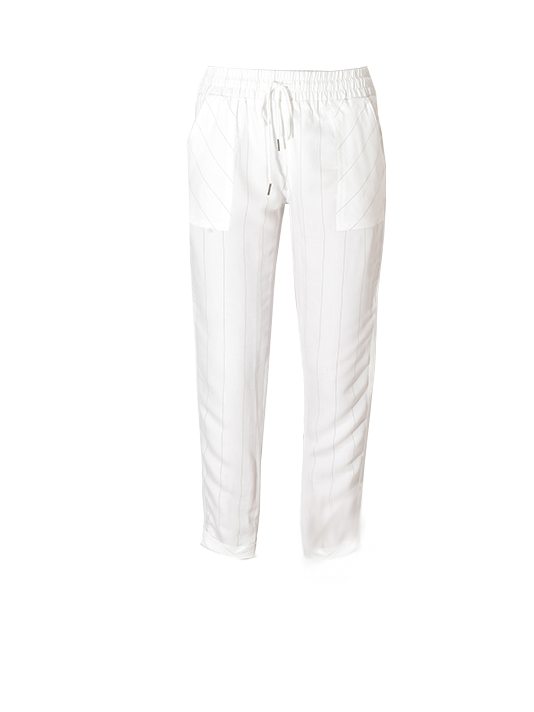 David Lerner Kennedy Cuffed Tapered Pant in White