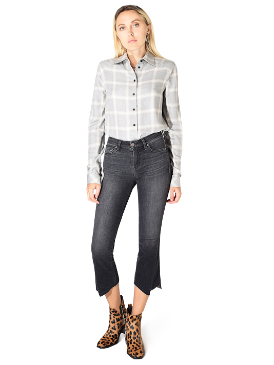 RTA Maxine Shirt with Shoulder Pads in Grey Plaid
