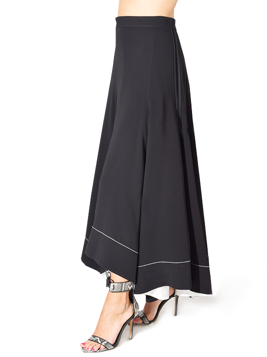 3.1 Phillip Lim Crepe A-Line Skirt with Seam in Black
