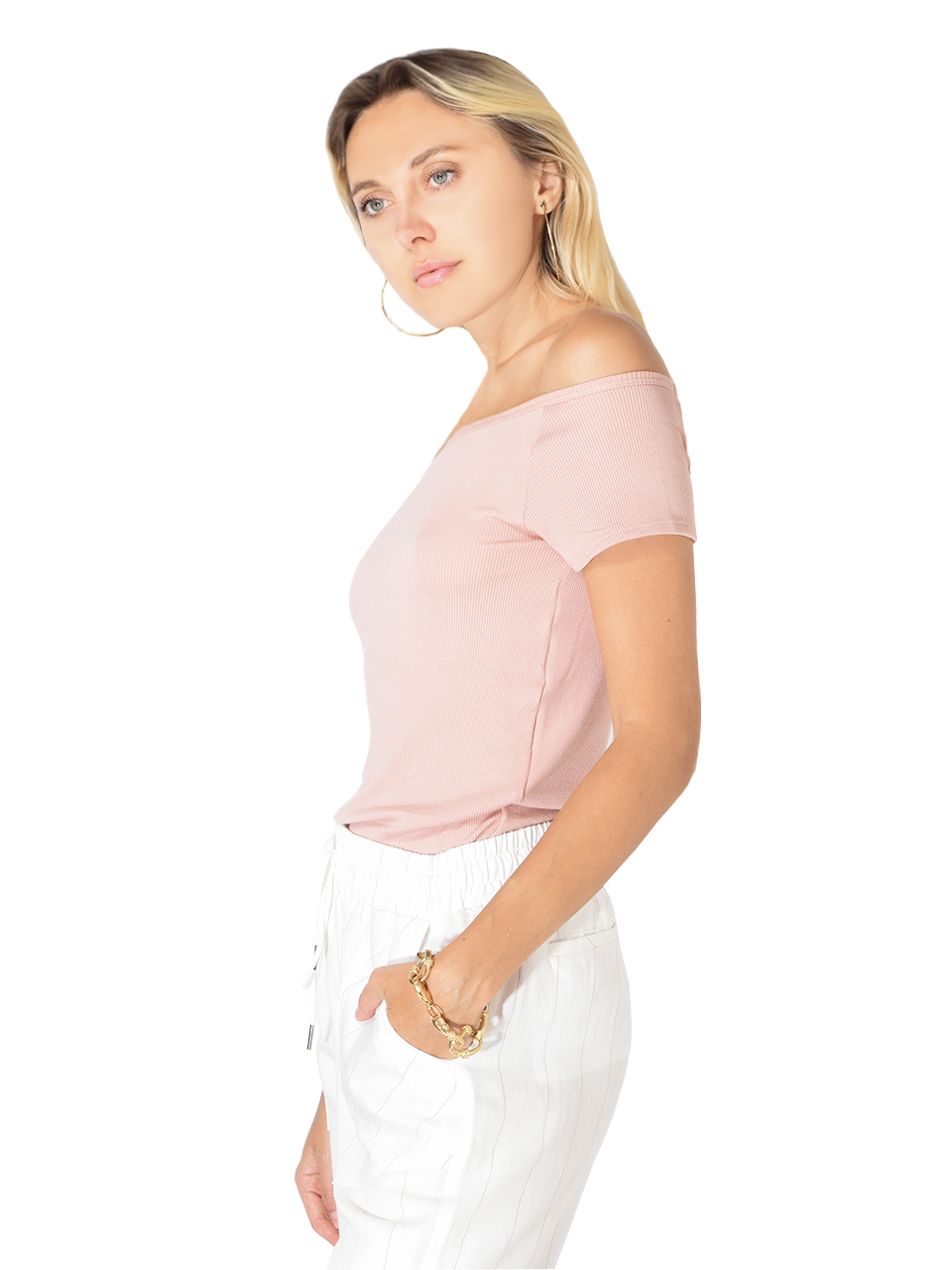 Maison T Khloe Ribbed Tee in Skin