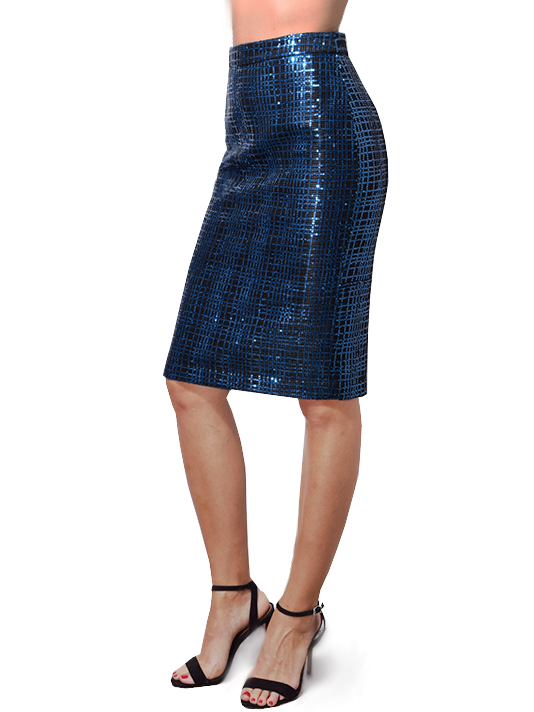 Michelle Mason Sequined Pencil Skirt in Marine