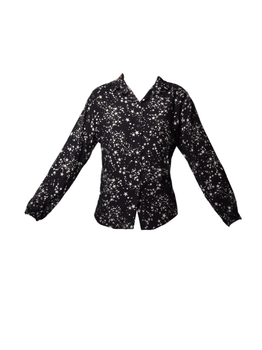 JET Tie Back Rayon Shirt in moon print