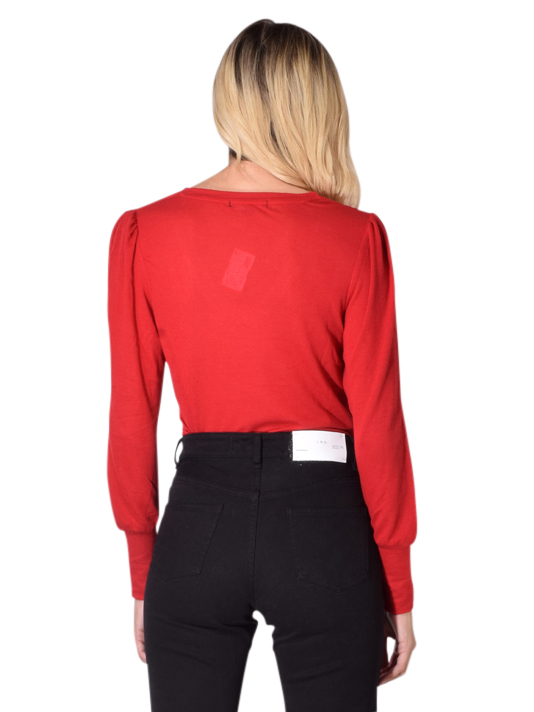 David Lerner V neck Fitted Puff Sleeve Top In Cherry