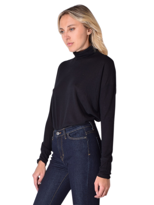 David Lerner Long sleeve Oversized Turtleneck Pullover In Black