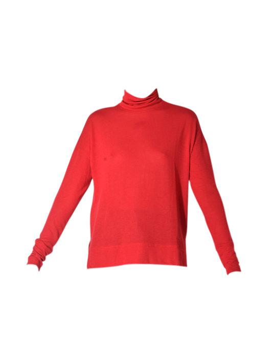 David Lerner Long sleeve Oversized Turtleneck Pullover In Cherry