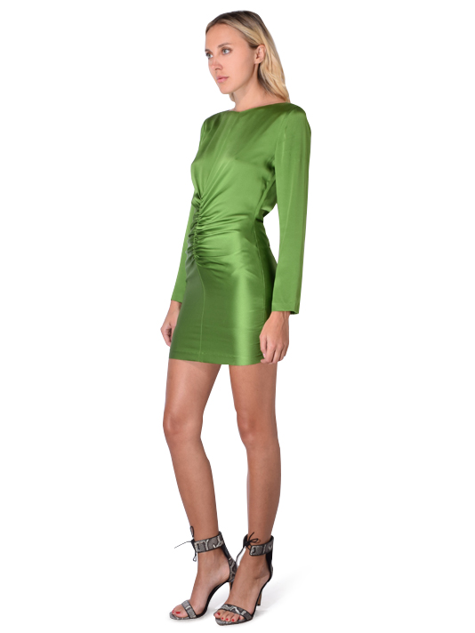 Michelle Mason Silk Charmeuse Ruched Mini Dress In Clover