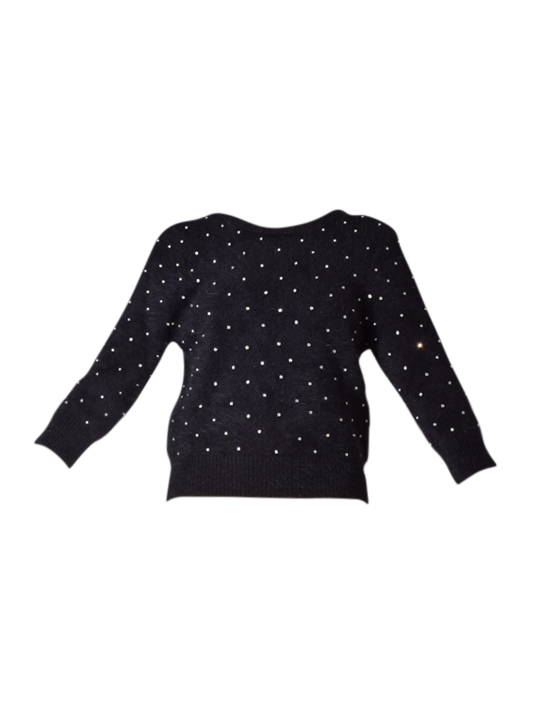 Ba&Sh Amby Sweater In Black With Crystal Studs