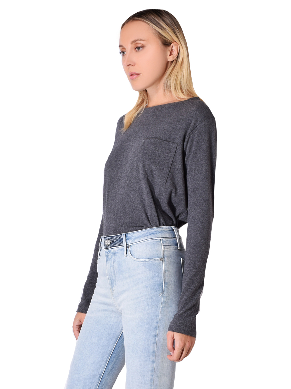 JET Button Back Washed Sweater In Charcoal