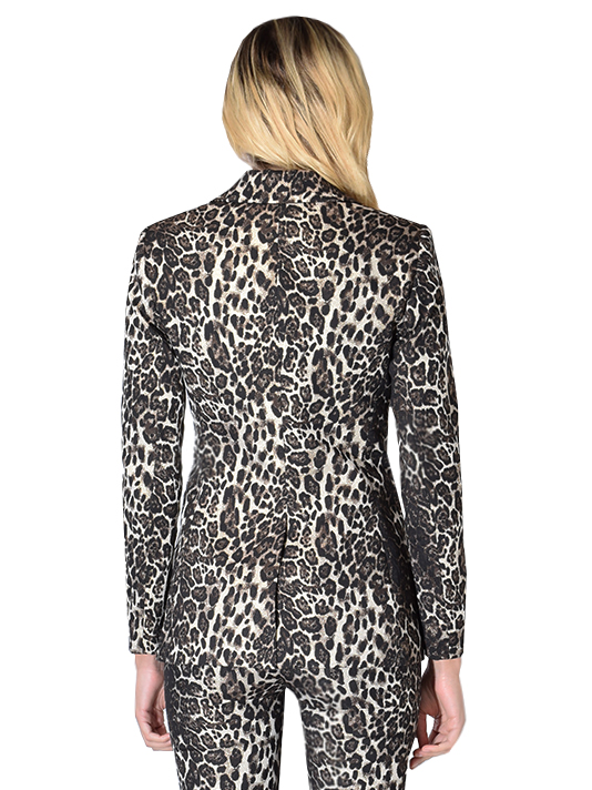 Alice + Oliva Toby Fitted Angled Front Blazer In Brown Multi Leopard