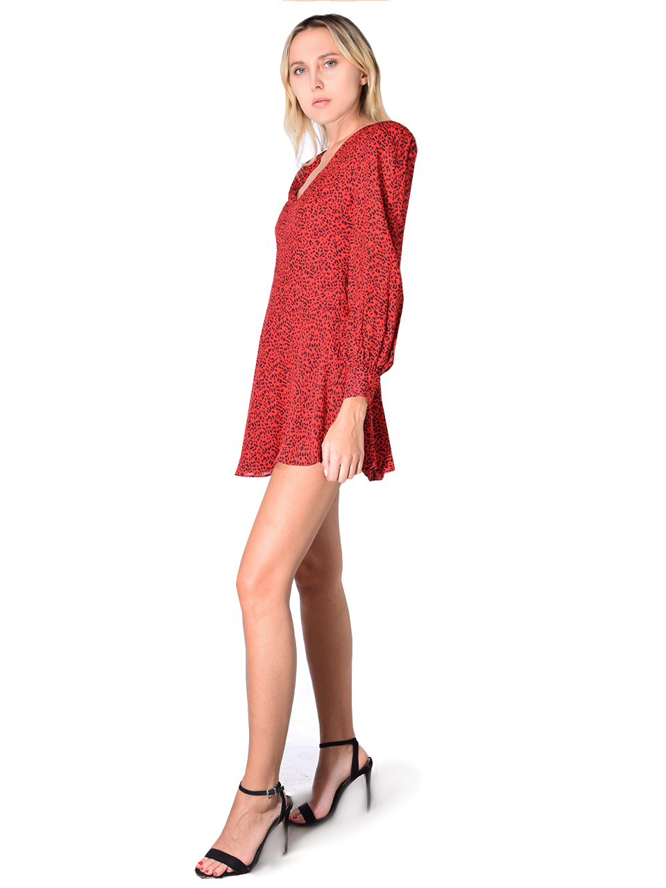 Alice + Olivia Polly Strong Shoulder V-neck Mini Dress In Ruby and Leopard