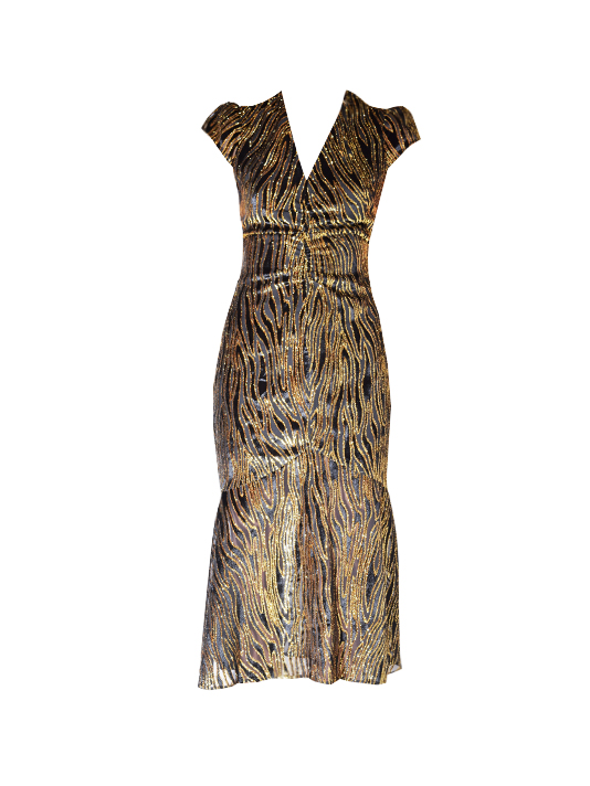 RACHEL ZOE Goldie Cap Sleeve Dress In Black/Gold