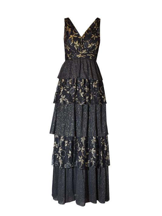 RACHEL ZOE Payten Layered Ruffle Maxi Dress