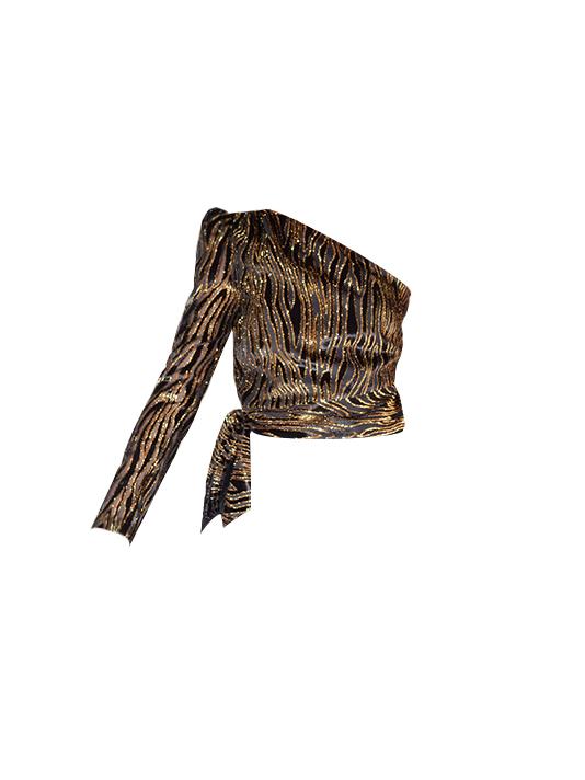 Rachel Zoe Parish One Sleeve Top In Black/Gold