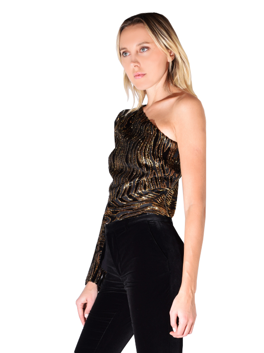 Rachel Zoe Parish One Sleeve Top In Black/Gold
