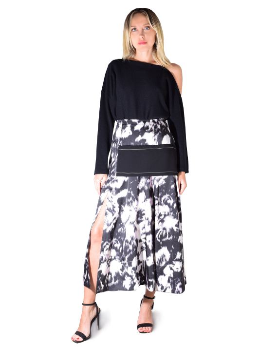 3.1 PHILLIP LIM Abstract Daisy Layered Skirt In Black/Pink