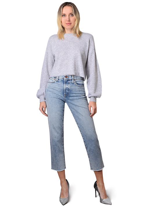 Alice + Olivia Ansley Wide Sleeve Cropped Sweater In Heather Grey