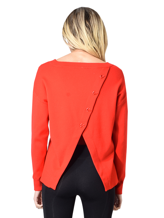 Alice+Olivia Ruela Split Back Sweater In Paprika