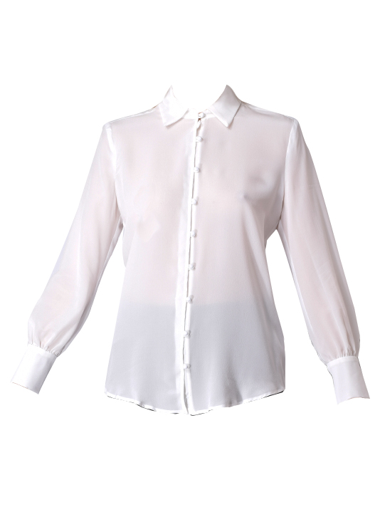 Lavender Brown Button down Blouse In Ivory