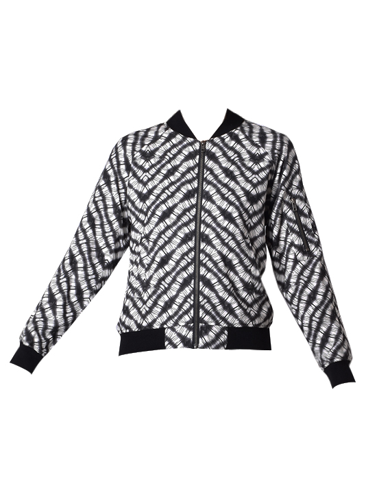 Lavender Brown Classic Printed Bomber Jacket In Black and Ivory