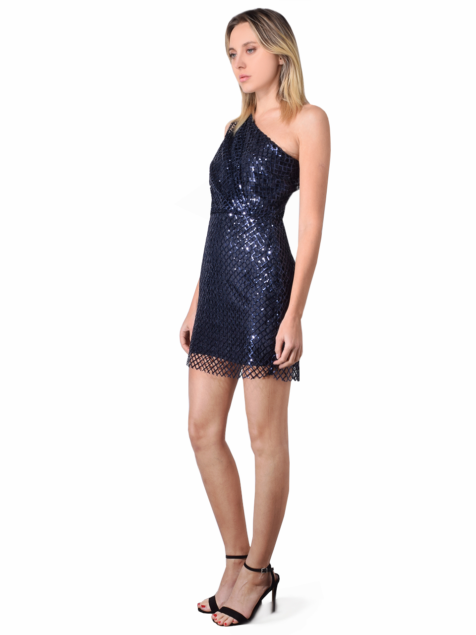 Michelle Mason Netted Sequin One Shoulder Mini Dress In Midnight Blue