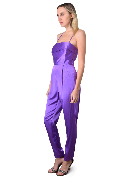 Michelle Mason Silk Charmeuse Banded Jumpsuit In Grape