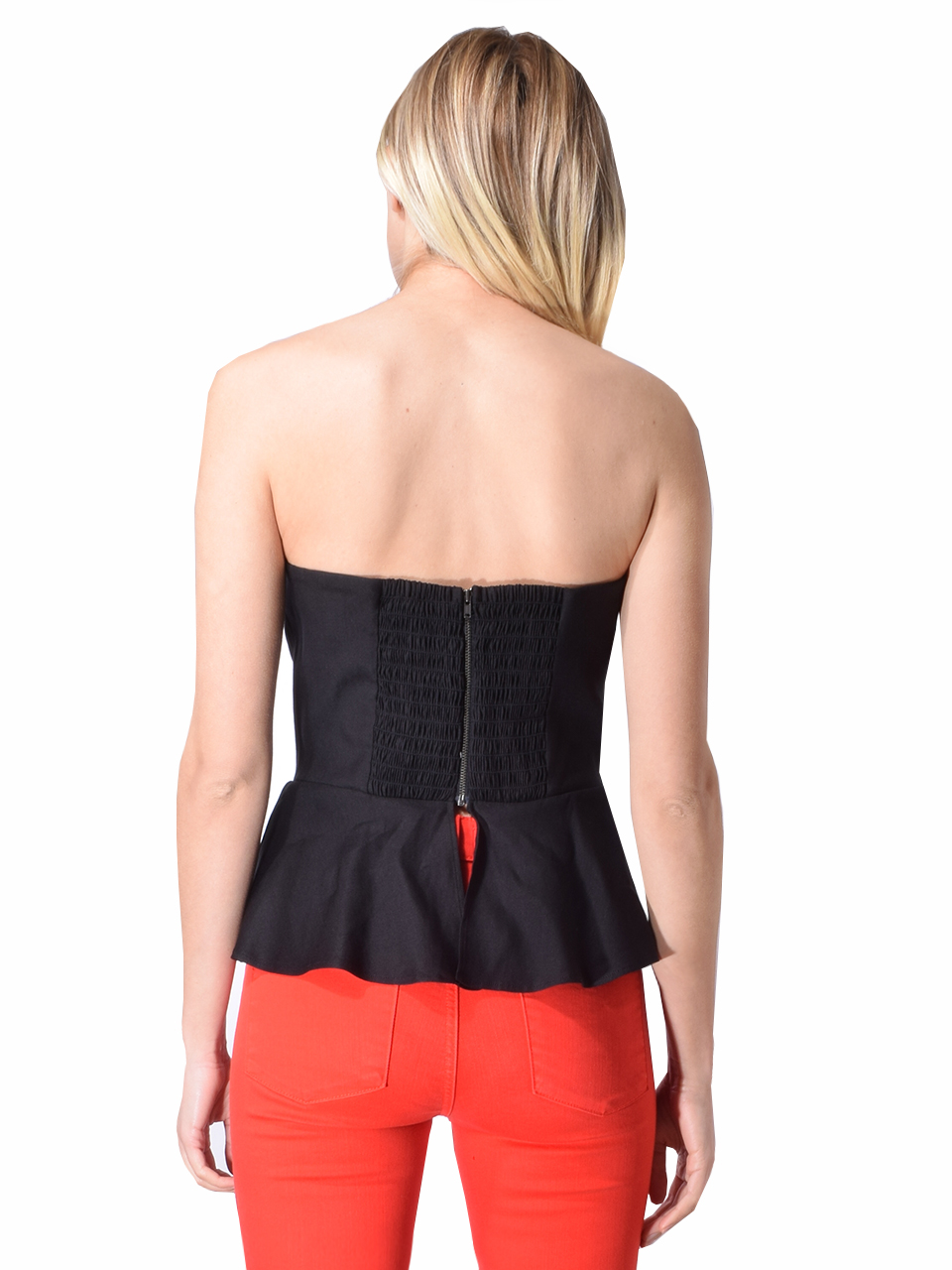 Lavender Brown Bustier /with Peplum In BLACK