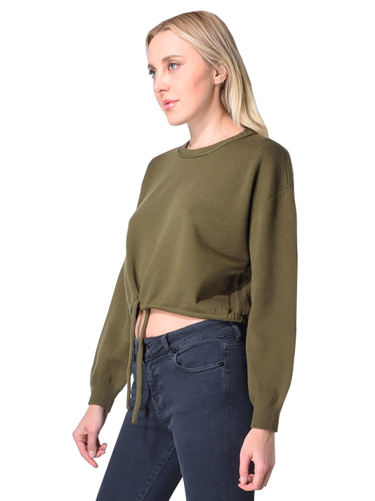 Alice + Olivia Bernetta Cropped Pullover Sweater with Drawstring In Olive