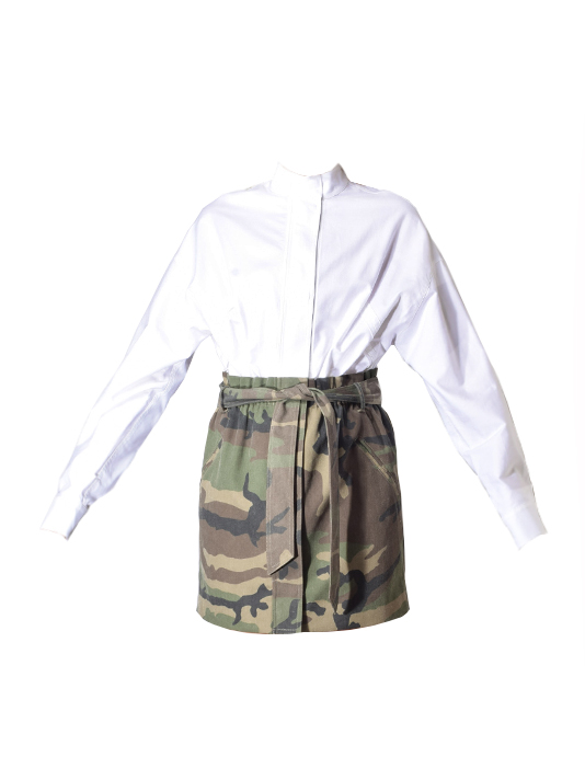 Niccola Belted Shirt Dress In White/Military
