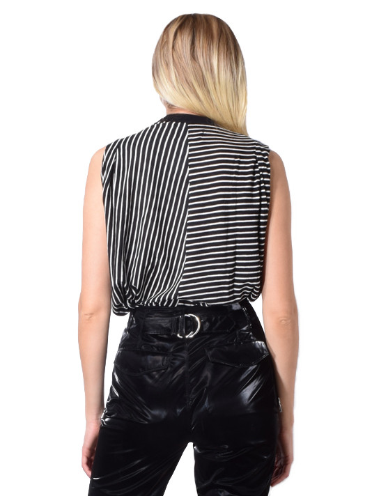 Tyler Pleated Tank In Black/Stripe
