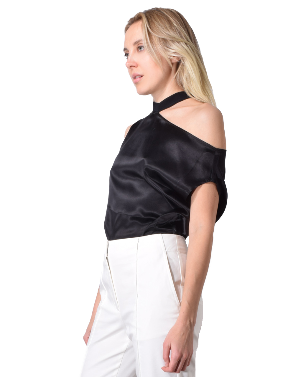 Axel Cut Out Silk Tee In Black