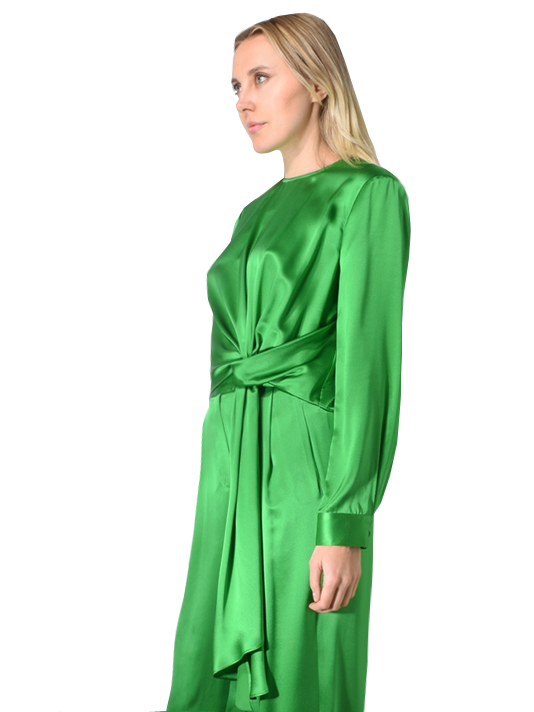 Silk Charmeuse Long Sleeve Front Tie Top In Leaf