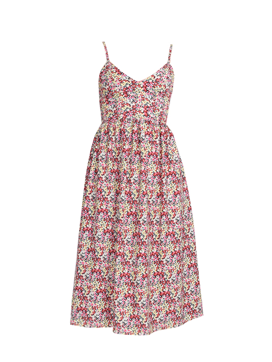 Floral Midi Dress in Red