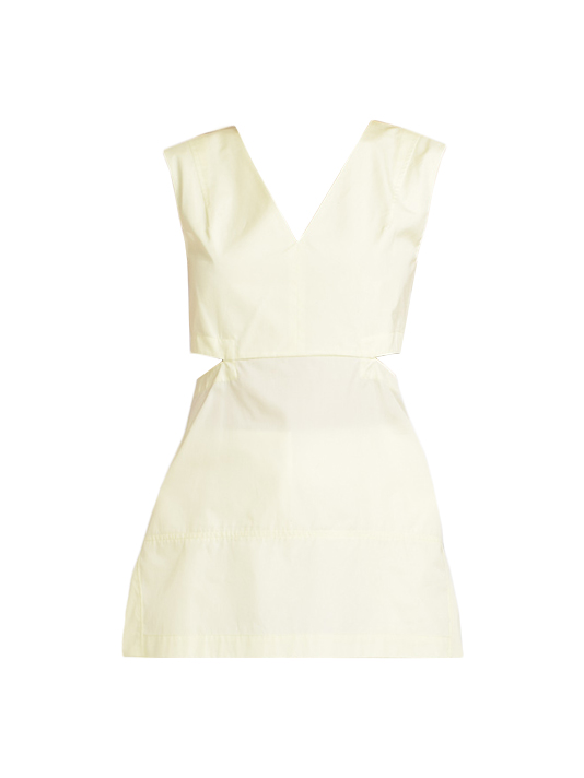 Poplin Cut-Out Top in Pale Yellow