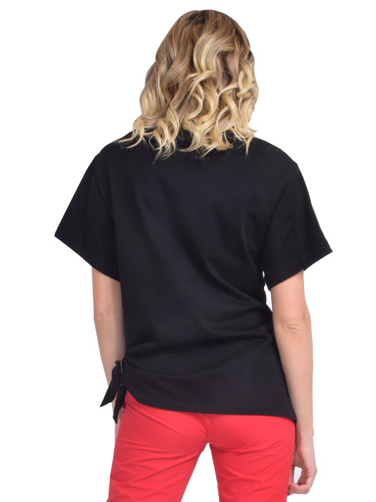 Gathered Ring T-Shirt in Black