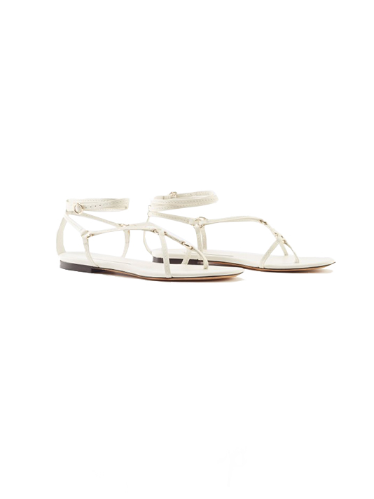 3.1 Phillip Lim Louise Strappy Flat Sandal in Ivory