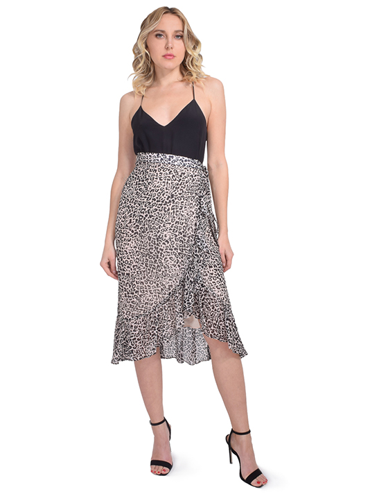 Leopard Wrap Skirt in Taupe/Brown