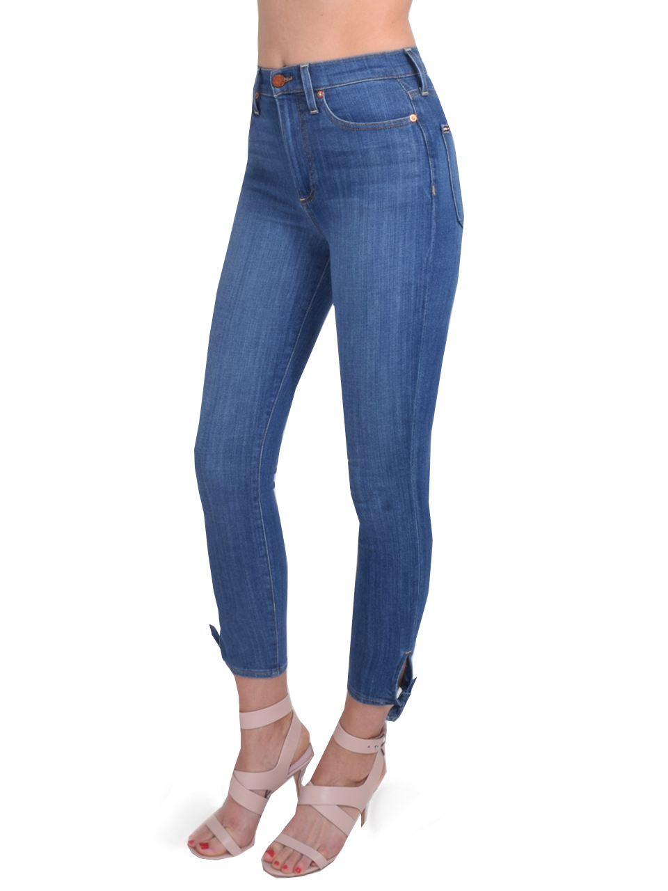 ALICE + OLIVIA Good High Rise Ankle Tie Jean In Blue