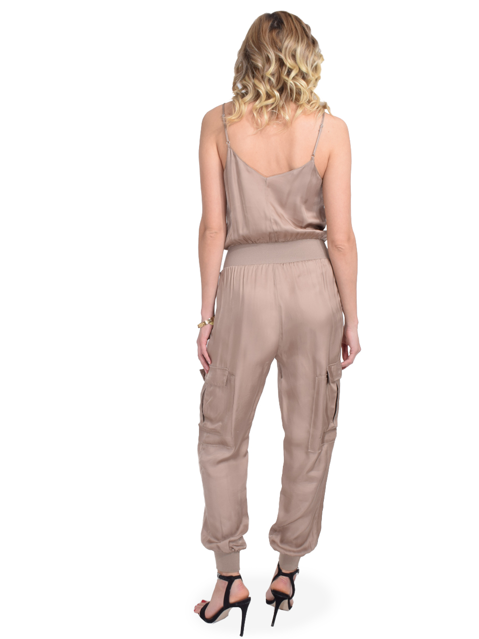 CINQ A SEPT Amia Jumpsuit In Cupro Pewter