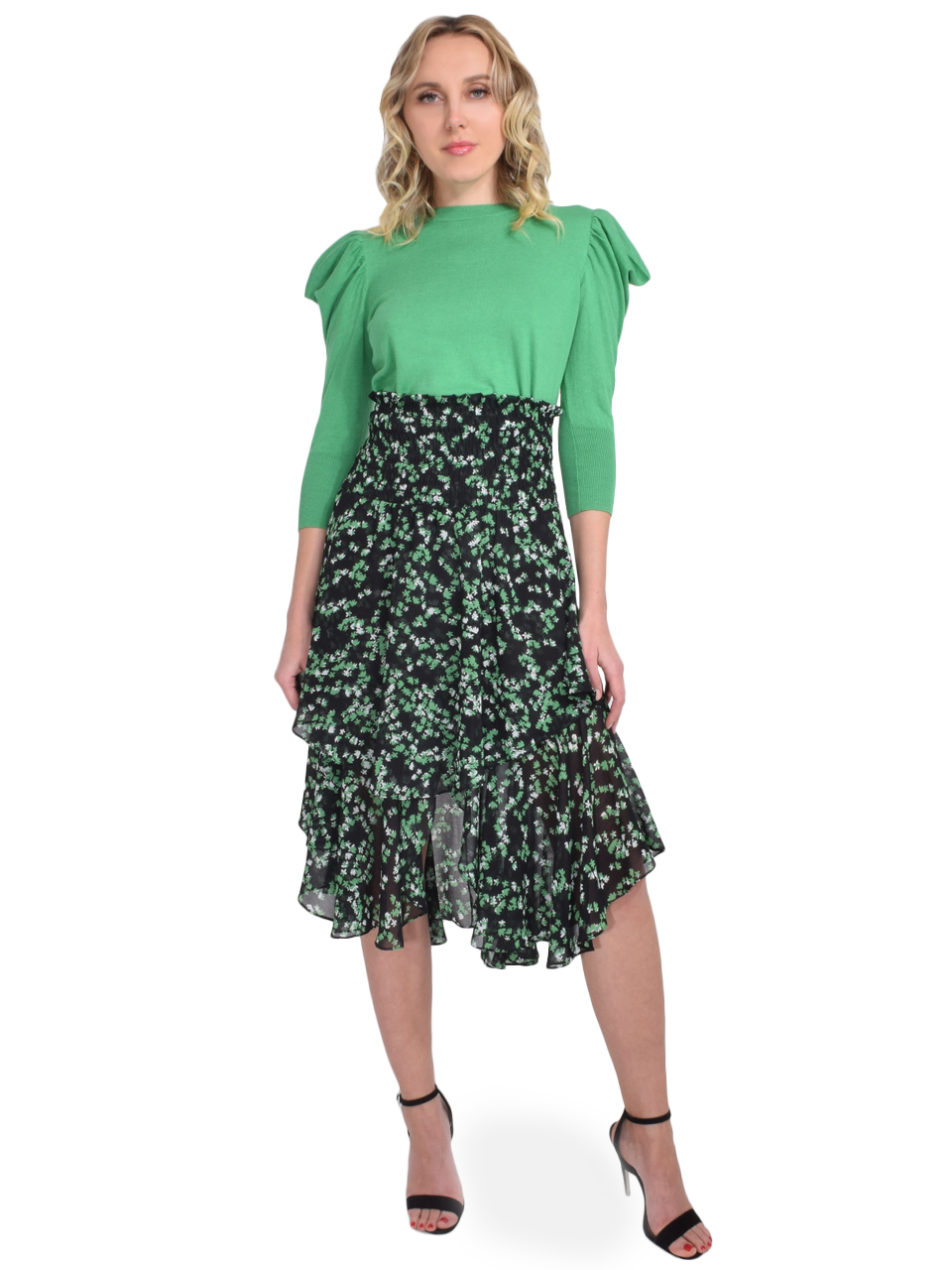 MISA Sonora Midi Skirt in Green