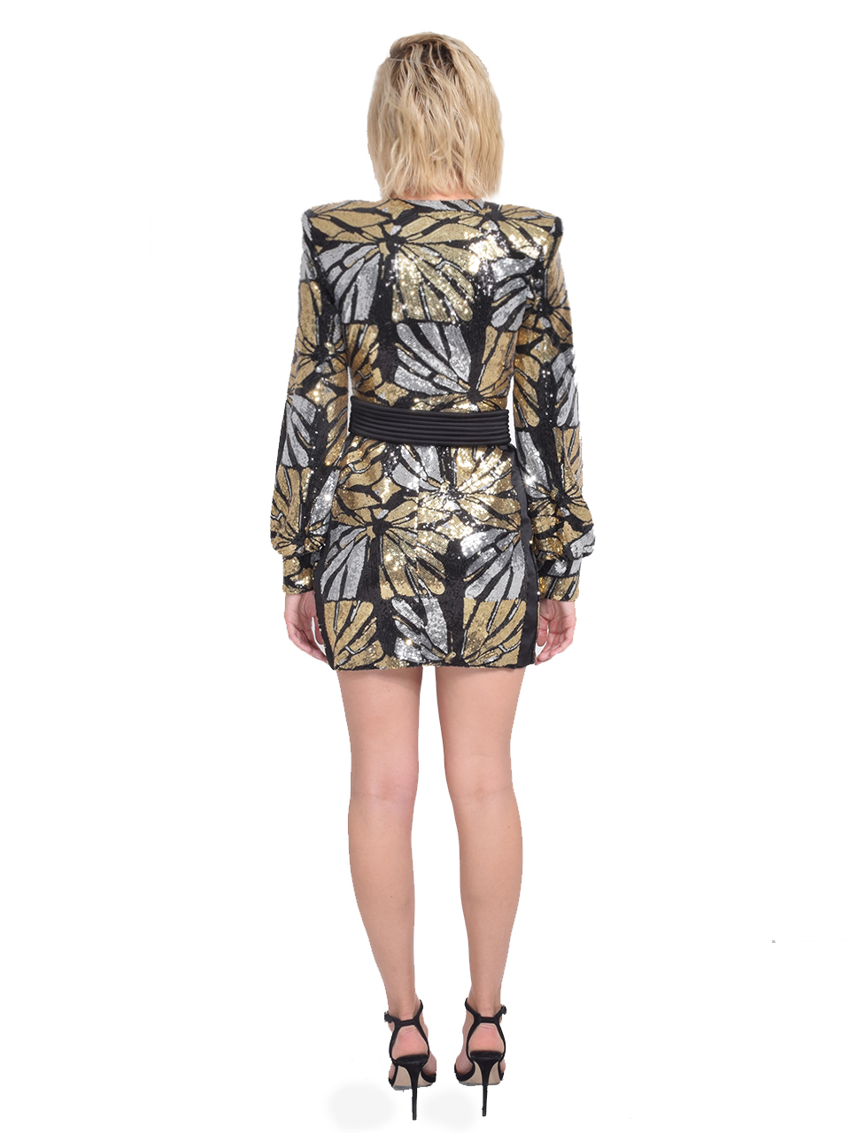 Zhivago Bringing Up Baby Dress in Black/Gold Back View