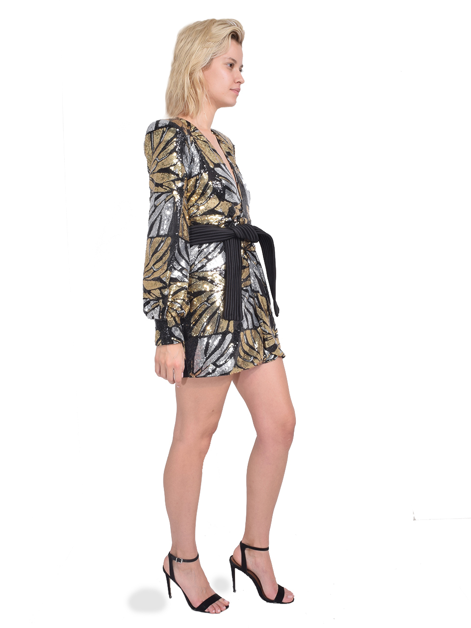 Zhivago Bringing Up Baby Dress in Black/Gold Side View
