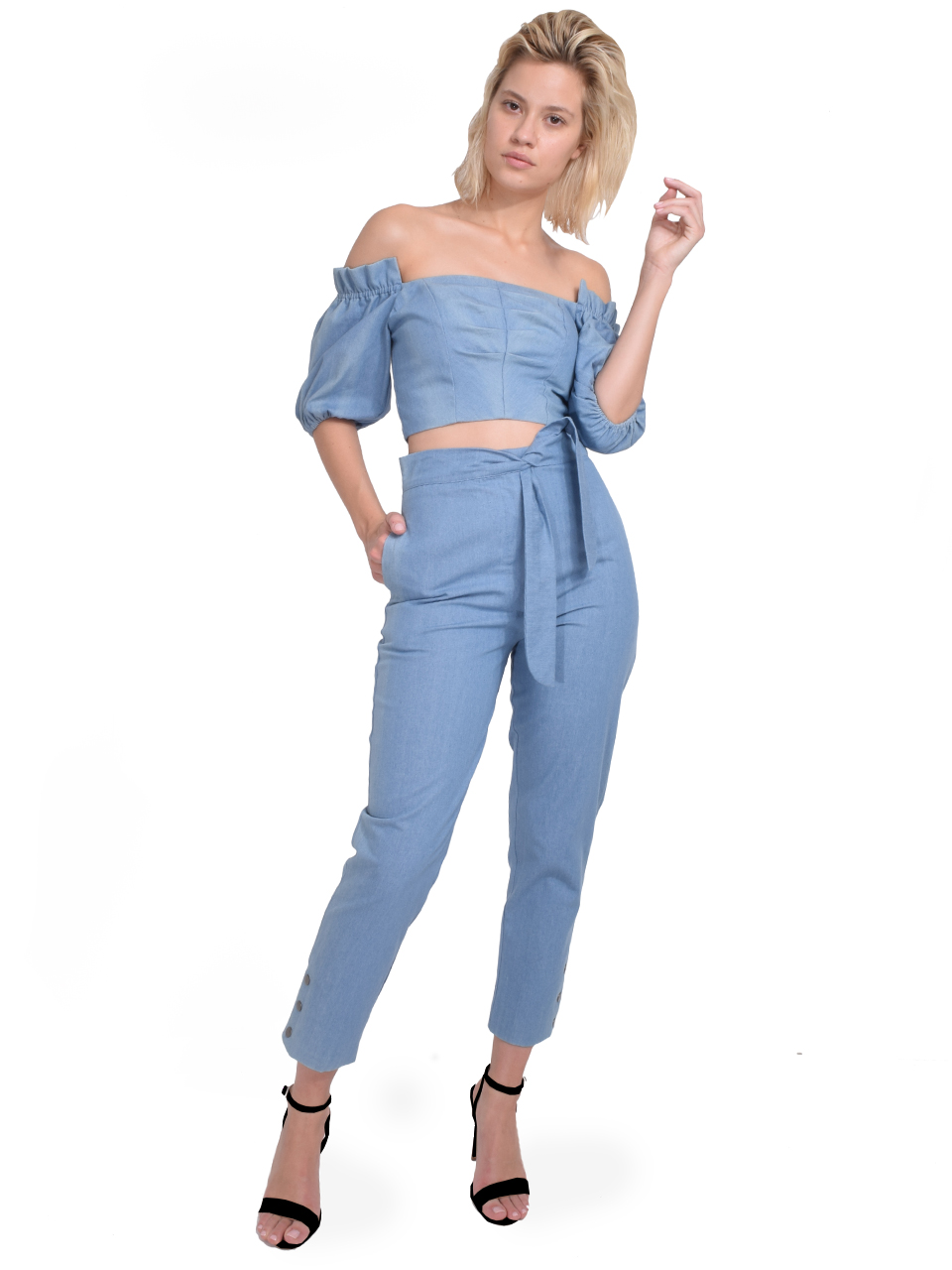 Karina Grimaldi Martha Denim Top Full Outfit