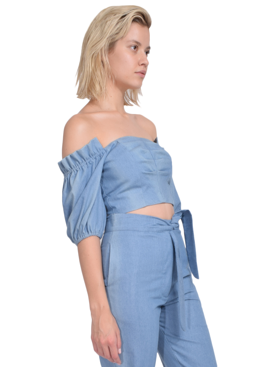 Karina Grimaldi Martha Denim Top Side View